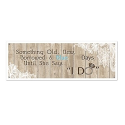 The Rustic Wedding Sign Banner is made of reusable plastic and measures 21 inches by 5 feet. Has 4 grommets for easy, secure hanging. Indoor/ Outdoor use. Contains one per package.