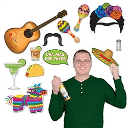 The Fiesta Photo Fun Signs are printed on cardstock and printed on both sides. Sizes range in measurement from 3 inches to 17.75 inches. Contains 13 pieces per package. Just hold up these brightly colored signs and snap a picture.
