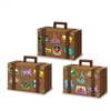 The Luggage Favor Boxes are made of cardstock and resemble real brown leather suitcases. They are decorated with stickers from different countries around the world. Measure 4 inches by 5.5 inches and contain 3 per package. Simple assembly required