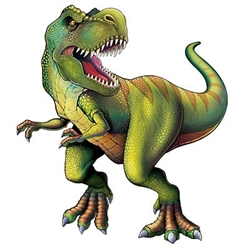 The Jointed Tyrannosaurus is made of cardstock and measures 4 feet 4 inches tall. It is completely assembled and fully jointed. One per package.