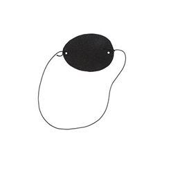 The Pirate Eye Patches (12 per package) are black eye patches with an elastic band attached for a secure and comfortable wear. They measure 3 inches across and 2 inches tall. One size fits most. 12 per package. No returns.