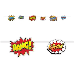 The Hero Action Signs Streamer measures 9 feet long. The cardstock action sign cutouts measure from 5 1/2 inches to 8 1/4 inches. Each package contains (1) 12 foot cord and 6 action sign cutouts. One (1) streamer per package. Assembly required.