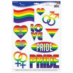 The Pride Peel 'N Place are a great way to spread love and equality. The vibrant rainbow colors add a burst of color to any room. Each sheet has 10 clings. One sheet per package.