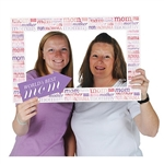 The Mother's Day Photo Fun Frame is made of cardstock and measures 15 1/2 inches by 23 1/2 inches. Printed on two sides with different designs. Each package contains one frame prop and two hand held props.