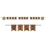 "The Wild Wild West Streamer is made to resemble real wood. It reads ""Wild Wild West"" with two decorative stars for each end. Made of cardstock and measures 10 feet long. Contains 1 cord, 12 cards, and 2 stars. 1 streamer per pack. Simple assembly required"