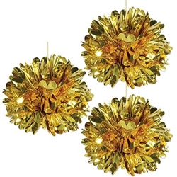 The Metallic Fluff Balls (Gold) are made of a shiny foil and measure 16 inches in diameter. Contains three (3) pieces per package. Simple assembly required.