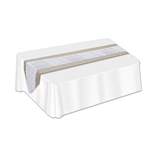 The Lace & Burlap Table Runner is made of fabric and is faux burlap with an intricate white lace design. It measures 12 inches wide and 6 feet long. Contains one per package.