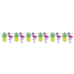 The Flamingo & Pineapple Streamer is made of cardstock coated in silver glittered film. Each streamer measures 9 inches tall and 12 feet long. It's alternating flamingos and pineapples. Simple assembly required. Contains one per package.