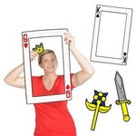 The Playing Card Photo Fun Frame is made of cardstock and printed on two sides with different designs. One side is printed with the red queen of hearts and the other side is the black king of spades. Has 3 hand props including a sword, scepter, crown.