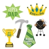 The Father's Day Cutouts are made of cardstock and printed on two sides. Sizes range in measurement from 13 1/4 inches to 16 1/2 inches. Contains 6 pieces per package.