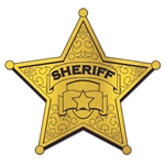 The Foil Sheriff Badge Silhouette is made of foil covered cardstock and measures 12 inches. Foil is on both sides and the Sheriff emblem is printed on one side only. Contains one (1) per package.