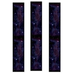 The Starry Night Party Panels are a mixture of black and purple with a copious amount of stars. Printed on thin plastic and measure 12 inches wide and 6 feet tall. Contains three (3) panels per package.