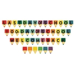 The School Days Streamer Set is a brightly colored 3-in-1 banner. It is made of cardstock and each package contains one ribbon measuring 12 feet, and 17 cards that measure 3.5 inches wide and 5.5 inches long. Simple assembly required.