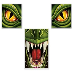 The Dragon Window & Door Décor Set are two window covers that are piercing dragon eyes and a door cover with a fierce snarl. Made of thin plastic. Comes as one sheet and will require scissors to cut out the images. 3 images per sheet. 1 sheet per pack.
