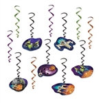 The Spaceship Whirls are an assortment of black, light green, orange, and purple metallic spiral whirls and 6 have cardstock spaceship icons attached to the end and 6 are plain whirls. Range in size from 17 inches to 32 inches. 12 pieces per package.
