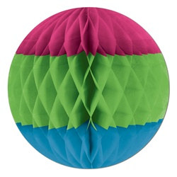 Cerise, Light Green, and Turquoise Art-Tissue Ball
