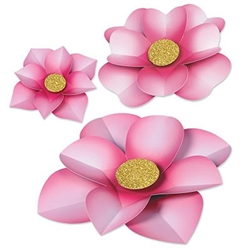 The Paper Flowers are made of pink cardstock with a gold center. Contains 3 pieces per package. One measures 10 inches, one measures 12 inches, and one measures 17 1/4 inches.