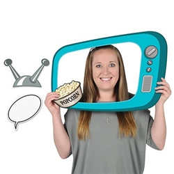 The 50's TV Photo Fun Frame is made of cardstock and printed on one side. It's blue with dials on the side and includes 3 hand held props including a TV antenna, bowl of popcorn, and word bubble. Frame prop measures 15 3/4 inches by 23 1/2 inches.