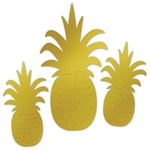 The Foil Pineapple Silhouettes are made of gold foil cardstock and are printed on two sides (one side embossed). Two (2) measure 12 inches tall and 6 1/2 inches wide and one (1) measures 18 inches tall and 9 inches wide. Sold three (3) pieces per package.