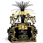 The Great 20's Centerpiece is made of cardstock and is black with gold accents. It has champagne glasses around the top with black and gold foil fringe on top. Measures 8 1/2 in by 13 in. One per pack. Easily assembled.