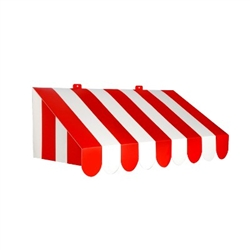 The 3-D Red & White Awning Wall Decoration is a vibrant wall decoration that looks great wherever you choose to hang it! It is perfect for a birthday party, carnival, or circus. Made of cardstock. Measures 24 ¾ inches by 8 ¾ inches. Comes one per package.