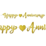 The Foil Happy Anniversary Streamer - Gold is made of foil coated cardstock and printed on two sides. Happy anniversary is spelled out in gold script lettering with a heart icon. Measures 7 1/2 inches tall and 6 feet long. One per pack. Assembly required.