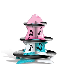 Once you assemble the Rock & Roll Cupcake Stand, you have a three-tiered stand to organize your cupcakes in a groovy arrangement. The stand has nice shades of blue and pink, while incorporating some musical notes to it. Measures 13.5 inches high.