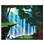 The Fantasy Insta-Mural is printed on a thin sheet of plastic and measures 5 feet by 6 feet. Sun rays beam over the top of a scenic cascading waterfall with hill tops and trees in the foreground. indoor/outdoor use. Contains one per package.