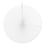 Create an elegant display when you hang these White Jumbo Accordion Paper Fans at an upcoming party. Contains two fans per package, with each fan measuring 48 inches when unfolded.
