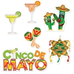 The Cinco De Mayo Cutouts are printed on cardstock and range in measurements from 9 inches to 21.5 inches. The colorful designs are printed on both sides. Contains 6 per package.