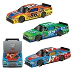 The 3-D Race Car Centerpieces are made of cardstock and measure 10 inches long and 2 1/2 inches tall. They're colorful and are printed with different logos like real racecars. Contains 3 per package. Simple assembly required.