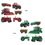 The Farm Equipment Cutouts are made of cardstock and printed on two sides with different colors. One side is red and one side is green. Sizes range in measurement from 12 inches to 23 inches. Contains 6 pieces per package.