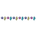 The Mermaid & Seashell Streamer features seashell and mermaid shaped cutouts on a 12 foot string. Printed against a shimmering silver prismatic background, the brightly colored mermaids and seashells make a colorful streamer. 1 streamer per package
