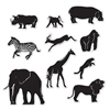 The Jungle Animal Silhouettes are made of cardstock and printed on two sides. Black with white highlights. includes a lion, monkey, rhino, giraffe, zebra, gorilla, elephant, gazelle, tiger, and hippo. Sized from from 6 3/4 in to 15 1/4 in. 10 Per package.