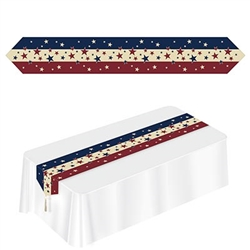 The Printed Americana Table Runner is made of cardstock with a tassel on each end. Measures 11 in wide and 6 ft long. It has burgundy, beige, and blue stripes and is covered with different sized stars. Contains one per package.