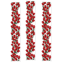 The Roses Party Panels are printed on clear plastic. Measure 12 inches wide and 6 feet tall. Contains three (3) panels per package.