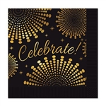The Celebrate! Beverage Napkins are made of 2 ply paper and measure 4 3/4 inches by 4 3/4 inches. They're black and printed with Celebrate! in gold script surrounded by an intricate gold design. Contains 16 napkins per package.