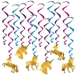 The Unicorn Whirls are an assortment of cerise, purple, and blue metallic spiral whirls and 6 have a cardstock cutout of a gold unicorn attached to the end and 6 are plain whirls. Measurements range from 17 inches to 31 1/2 inches. 12 pieces per package.