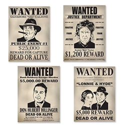 The Gangster Wanted Sign Cutouts are made of cardstock and measure 11 1/4 inches wide and 15 1/4 inches tall. Printed on one side. Contains 4 pieces per package.