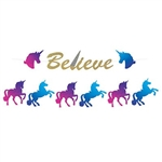 "The Unicorn Streamer Set is a 2-in-1 streamer set that contains colorful cardstock cutouts of unicorns, unicorn heads, and gold letters to make the phrase ""believe"". Contains a total of 15 cutouts and 1 white ribbon. Simple assembly required."