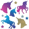 The Unicorn Cutouts are made of cardstock and sizes range in measurement from 2 1/4 inches to 13 1/4 inches. Printed two sides- one side glittered. Each package includes 5 unicorn cutouts and 5 star cutouts. Total of ten (10) pieces per package.