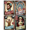 The Vintage Circus Poster Cutouts are made of cardstock and printed on one side. They measure 11 1/2 inches wide and 15 1/4 inches tall. Contain 4 posters per package. Including the strong man, the bearded lady, the sword swallower, the mystic madam.