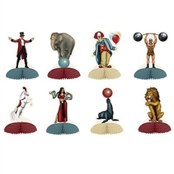 The Vintage Circus Mini Centerpieces are made of cardstock with a tissue base. Measure 5 inches. The various characters include the weight lifter, snake woman, ringmaster, clown, lion, horse, and elephant. 8 pieces per package. Completely assembled.