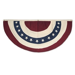 The Americana Fabric Bunting is red, white, and blue and decorated with stars and stripes. Has three grommets for easy, secure hanging. Made of fabric and measures 4 feet. Colors are not bleed resistant. One per package.