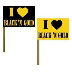 I love Black n Gold Mini Paper Flags