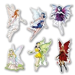 The Fairy Cutouts are made of cardstock and sizes range from 8 3/4 in to 12 in . Each package contains 3 good and 3 bad fairies. The good ones have soft, delicate features while the bad ones have a darker, more rigid appearance. Total of 6 per package