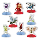 The Fantasy Mini Centerpieces are made of cardstock and have a tissue base. Sizes range in measurement from 4 inches to 5 inches. Includes 4 dragon designs and 4 fairy designs. Total of 8 pieces per package. Completely assembled, opens full round.