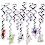 The Fairy Whirls are an assortment of black, purple, and silver metallic whirls and 6 have a cardstock icon of fairies attached to the end and 6 are plain whirls. Sizes range in measurement from 17 inches to 32 inches. Each package contains 12 whirls.