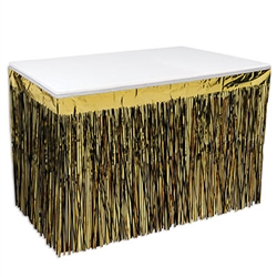 Dress your table for party success with this Black and Goldr 2-Ply, Flame Resistant, Metallic Table Skirting! <br/><br/>14 feet long with 30 inch long tassels, reusable with care.