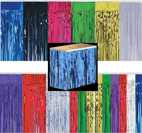 Metallic Fringe Table Skirting 1 Ply PartyCheap
